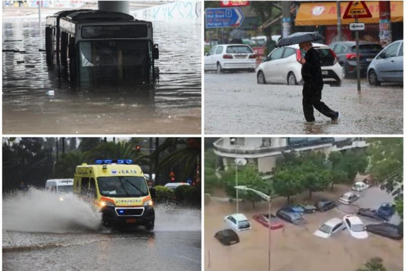 OLUJA U GRČKOJ DONELA OGROMNE POPLAVE: Helikopteri kreću po ljude zarobljene na krovovima! Alice Atine pod vodom, vozila blokirana