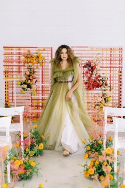Moderno slikanje povodom venčanja ispunjeno Color Block efektom