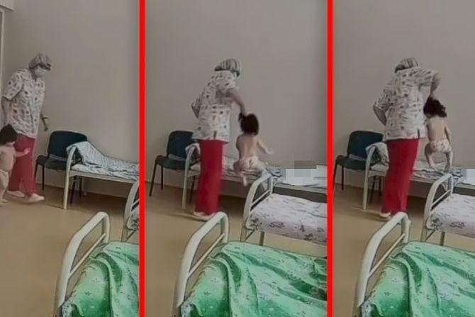 """Šok snimak sa pulmologije: Medicinska sestra hvata dete za kosu i bacaka. Razlog su """"mokre ruke"""""""