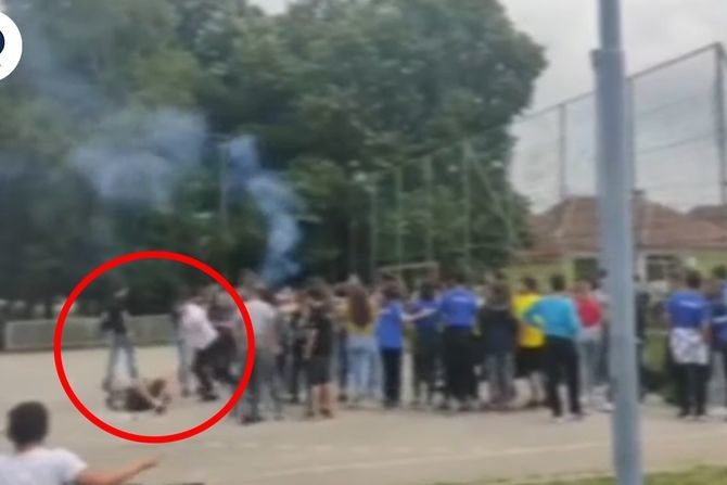 Unheard of violence in Prokuplje school yard: Father savagely kicks son during graduation party