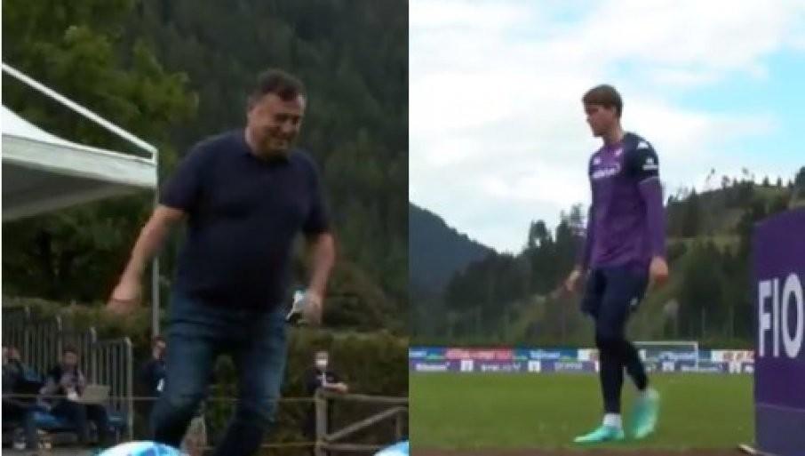 ČINE SVE DA VLAHOVIĆ OSTANE FIRENCI: Čak je i direktor Fiorentine zbog Srbina zaigrao fudbal (VIDEO)