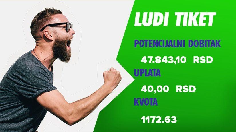 LUDI TIKET, sreda, 47.843 dinar: Luđe od tačnih rezultata ne može